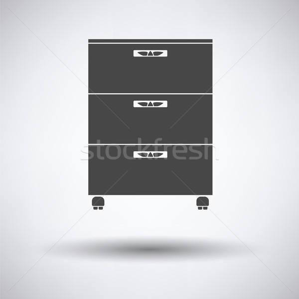 Kantoor kabinet icon grijs achtergrond tabel Stockfoto © angelp
