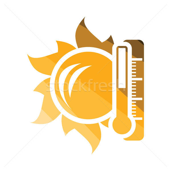 Sun and thermometer with high temperature icon Stock photo © angelp