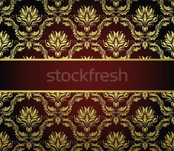 Bezszwowy adamaszek wzór wektora ramki łatwe Zdjęcia stock © angelp