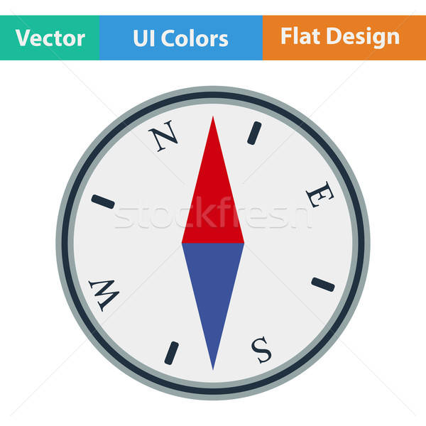 Flat design icon of compass Stock photo © angelp