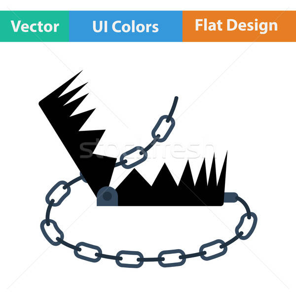 Flat design icon of bear hunting trap Stock photo © angelp
