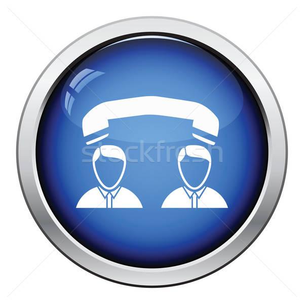 Telefoon gesprek icon glanzend knop ontwerp Stockfoto © angelp