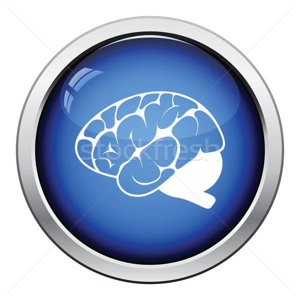 мозг икона кнопки дизайна медицинской Сток-фото © angelp