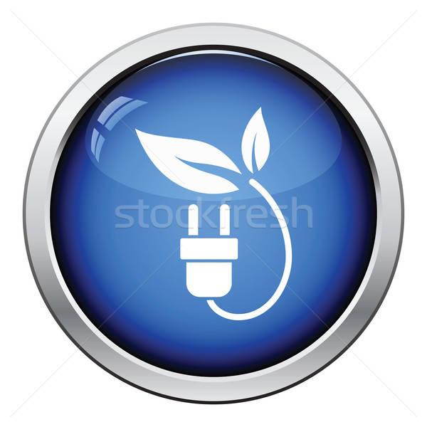 電気 プラグイン 葉 アイコン ボタン ストックフォト © angelp