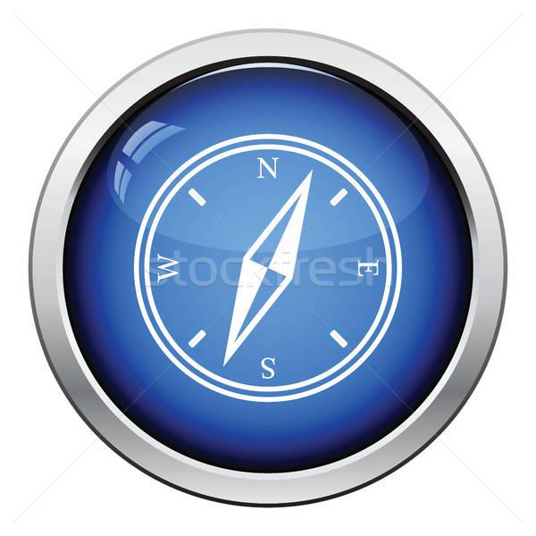 Bússola ícone botão projeto mapa Foto stock © angelp