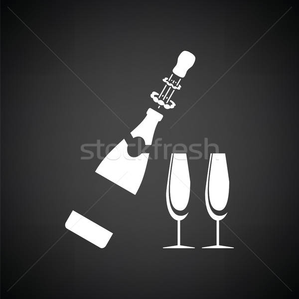 Party champagne and glass icon Stock photo © angelp