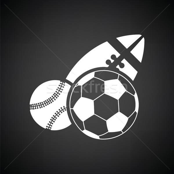 Esportes ícone preto e branco futebol beisebol Foto stock © angelp