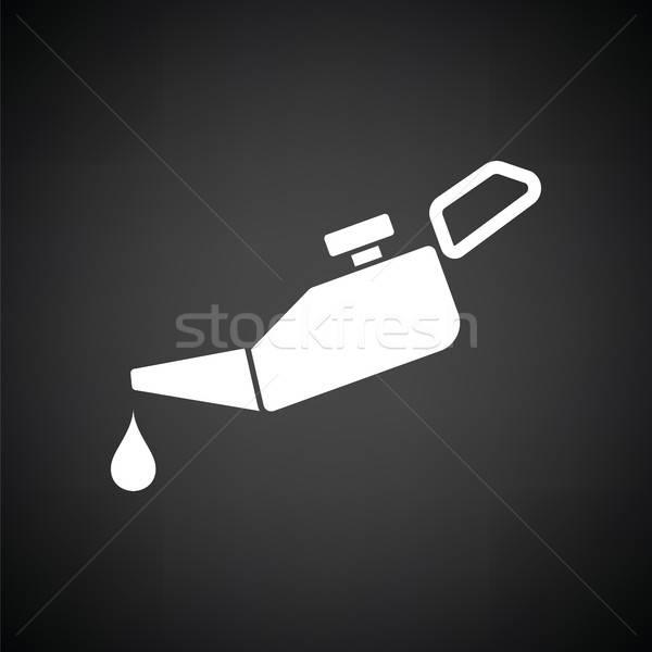 Olie icon zwart wit industrie fles zwarte Stockfoto © angelp