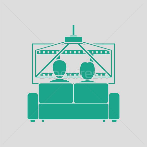 Сток-фото: кино · диван · икона · серый · зеленый · образование