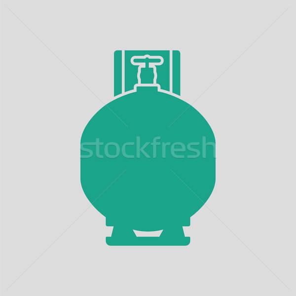Gas cilinder icon grijs groene achtergrond Stockfoto © angelp
