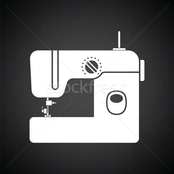 Nowoczesne maszyny do szycia ikona czarno białe moda domu Zdjęcia stock © angelp