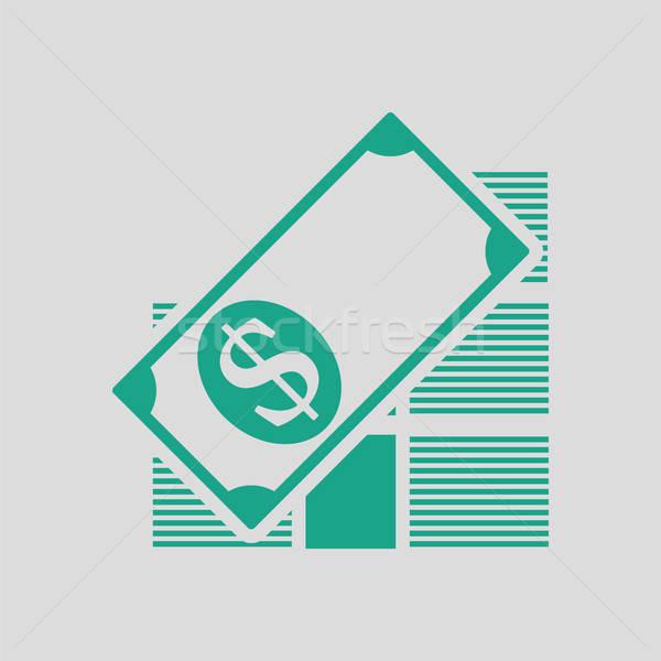 Bankbiljetten icon grijs groene geld Stockfoto © angelp