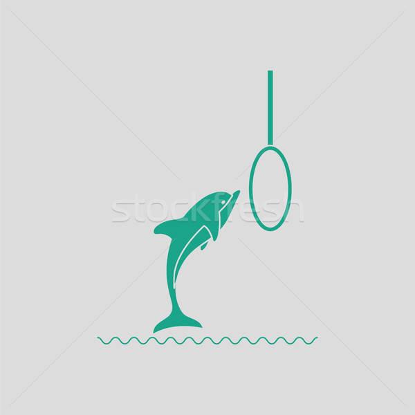 Springen dolfijn icon grijs groene leven Stockfoto © angelp