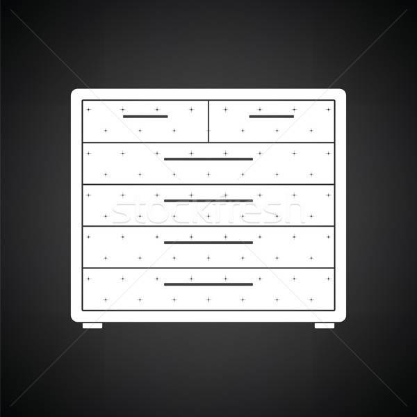 Petto cassetti icona bianco nero legno mobili Foto d'archivio © angelp