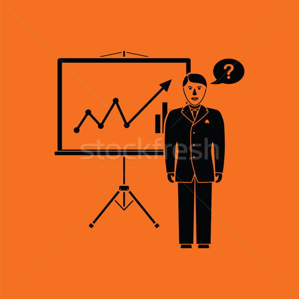 Analytics stand icon oranje zwarte man Stockfoto © angelp