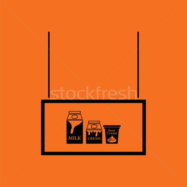 Leche mercado departamento icono naranja negro Foto stock © angelp