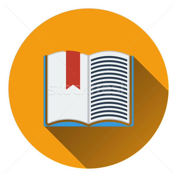 Flat design icon of Open book with bookmark in ui colors Stock photo © angelp