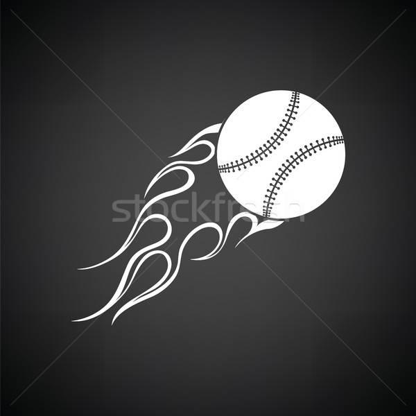 Baseball ognia piłka ikona czarno białe podpisania Zdjęcia stock © angelp