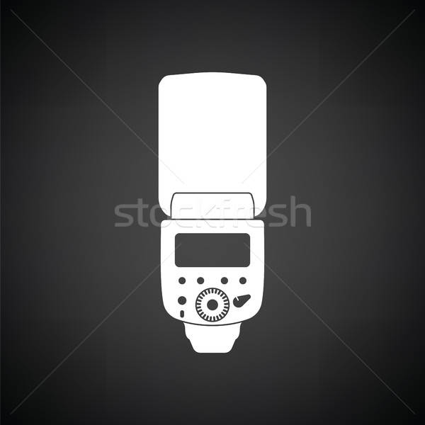 Stockfoto: Icon · draagbaar · foto · flash · zwart · wit · technologie
