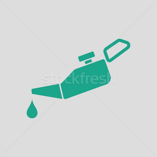 Olie icon grijs groene industrie fles Stockfoto © angelp