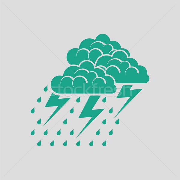 Sağanak ikon gri yeşil yağmur web Stok fotoğraf © angelp
