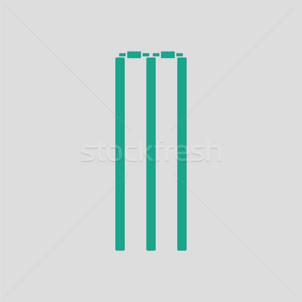 Críquete ícone cinza verde esportes vermelho Foto stock © angelp