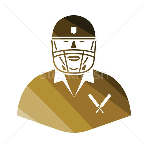 Krikett játékos ikon szín terv sport Stock fotó © angelp