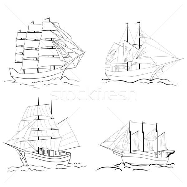 Stock photo: Set of sketch sailing vessel