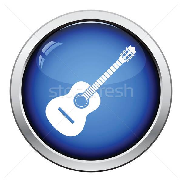Guitarra acústica icono botón diseno música Foto stock © angelp