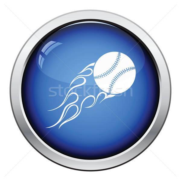 Baseball ognia piłka ikona przycisk Zdjęcia stock © angelp