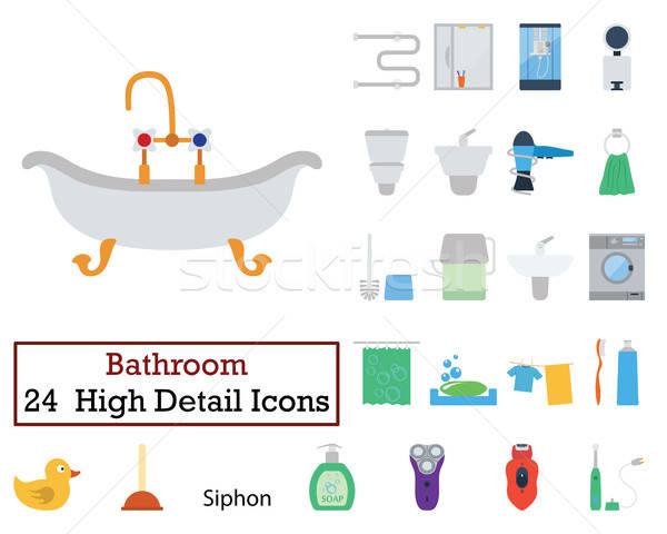 Conjunto 24 banheiro ícones cor Foto stock © angelp