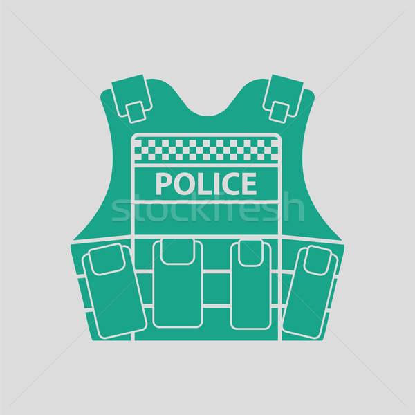 Polizia gilet icona grigio verde sicurezza Foto d'archivio © angelp