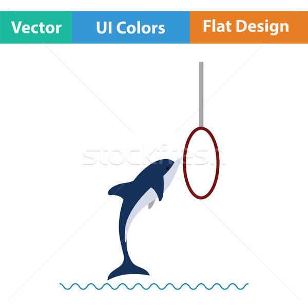 Springen dolfijn icon ontwerp kunst leven Stockfoto © angelp