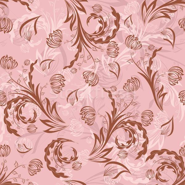 Foto stock: Sin · costura · floral · vector · fácil