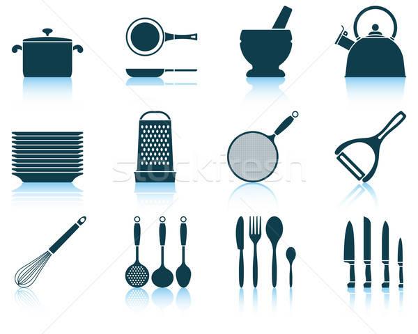 Set kitchen utensil icon Stock photo © angelp