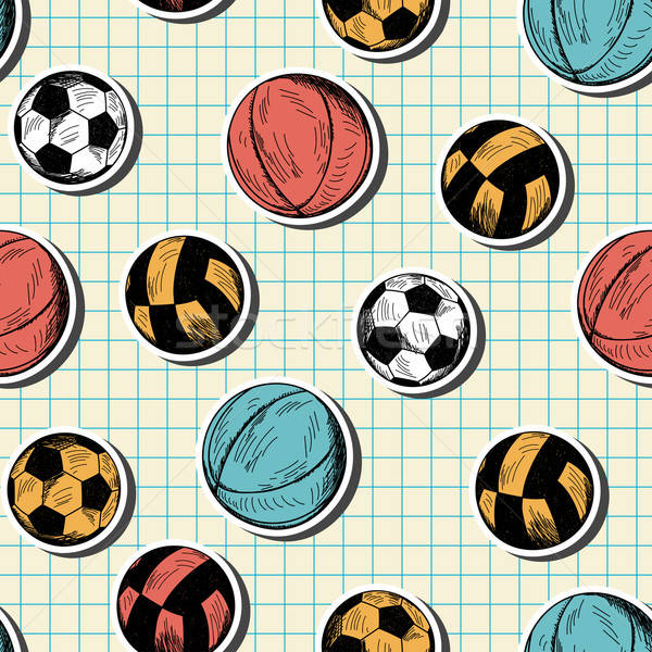 Seamless pattern with hand drawn different sport balls Stock photo © angelp
