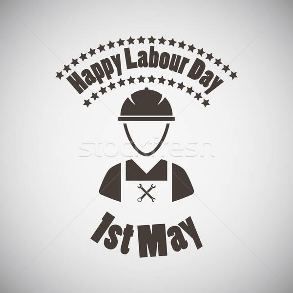 Emblem Arbeitnehmer glücklich Hintergrund Fabrik Stock foto © angelp