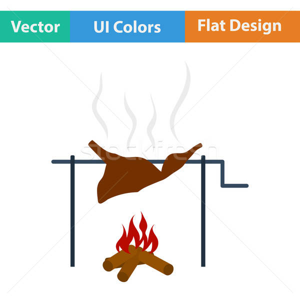 Flat design icon of roasting meat  Stock photo © angelp