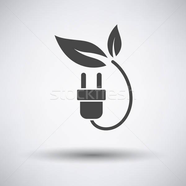 Elektrische plug bladeren icon grijs aarde Stockfoto © angelp