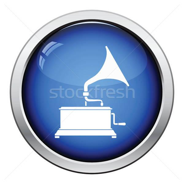 Gramofone ícone botão projeto música Foto stock © angelp