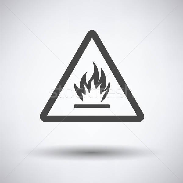 Gyúlékony ikon szürke biztonság ipar piros Stock fotó © angelp