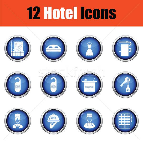 Set of twelve hotel icons. Stock photo © angelp