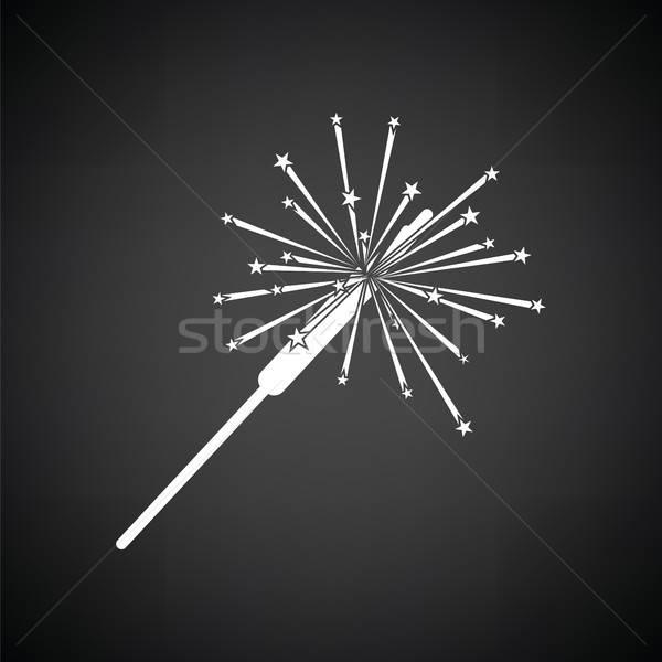 вечеринка бенгальский огонь икона черно белые аннотация рождения Сток-фото © angelp