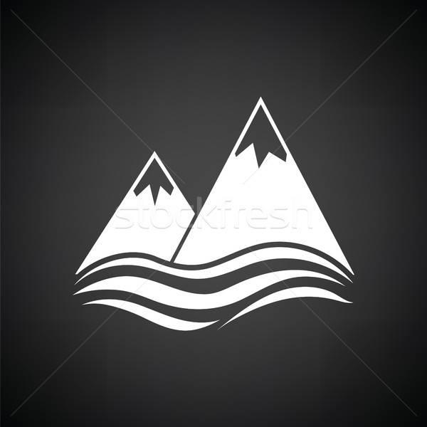 Snow peaks cliff on sea icon Stock photo © angelp