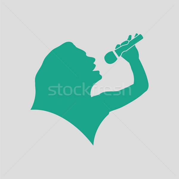 Karaoke womans silhouette icon Stock photo © angelp