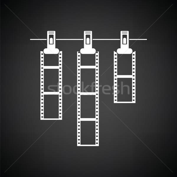 アイコン 写真 映画 ロープ 洗濯挟み 黒白 ストックフォト © angelp