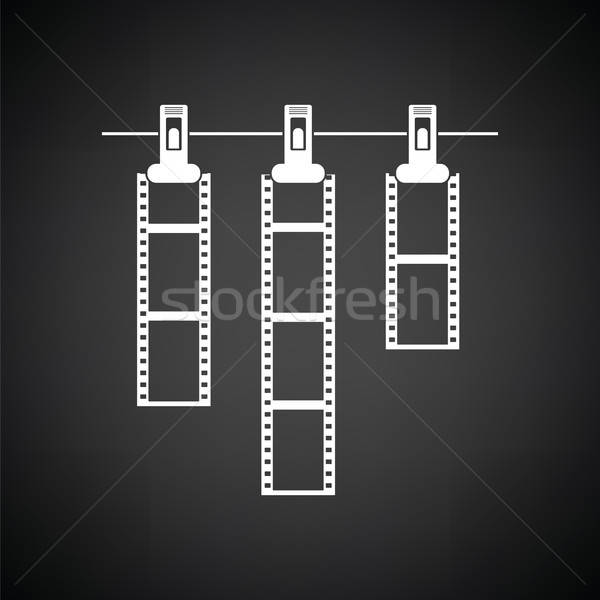 ícone foto filme corda prendedor de roupa preto e branco Foto stock © angelp