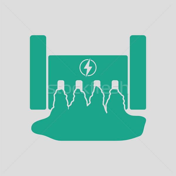 Elektromos erőmű ikon szürke zöld víz felirat Stock fotó © angelp