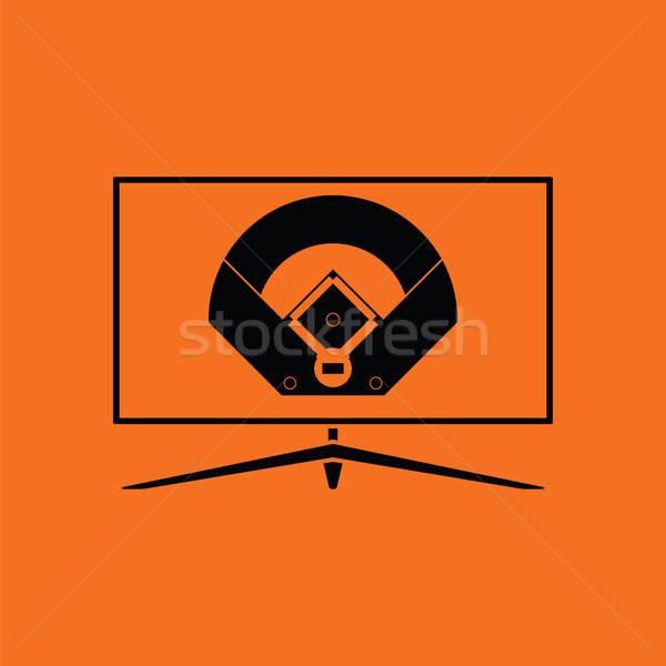 Beisebol tv tradução ícone laranja preto Foto stock © angelp