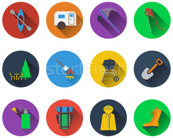 Set of camping icons Stock photo © angelp